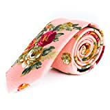 Pursuit Apparel Skinny Tie Hand Made Men's Cotton Printed Floral Neck Tie (Summer)