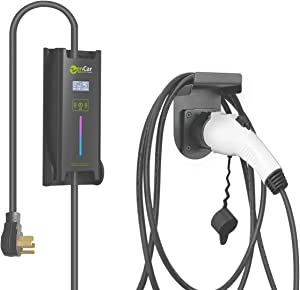 EVCARS EV Charger Level 2 40 Amp Portable, 40A Evse Mini wallbox Home EV Charging Station with EV Charger Plug Holder and Cable Holder, Timing Delay (SAE J1722, 230V, 16A-40A, NEMA 14-50)