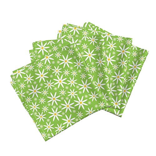 Roostery Garden Linen Cotton Dinner Napkins Field of Daisies-Green by Jjtrends Set of 4 Cotton Dinner Napkins Made