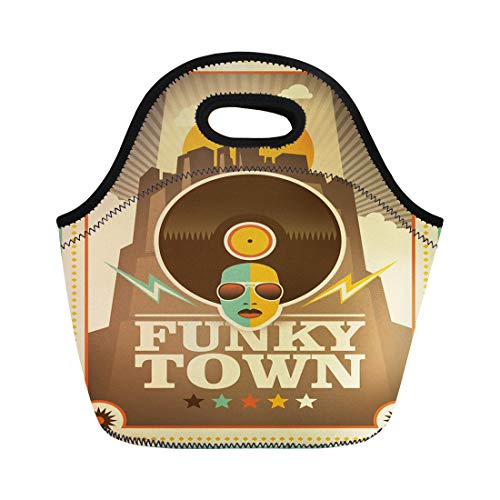Semtomn Lunch Tote Bag Colorful Music Funky Town Funk Retro Soul Record Groovy Reusable Neoprene Insulated Thermal Outdoor Picnic Lunchbox for Men - Record Groovy