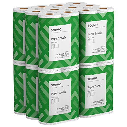 Solimo Basic Flex-Sheets Paper Towels, 24 Value Rolls, White, 102 Sheets per Roll]()