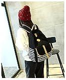 Gazigo Striped Backpack Preppy bookbags Marine Sailor Navy Stripy School Bags Shoulder Bag + Pencil Case for Teenage Girls and Boys