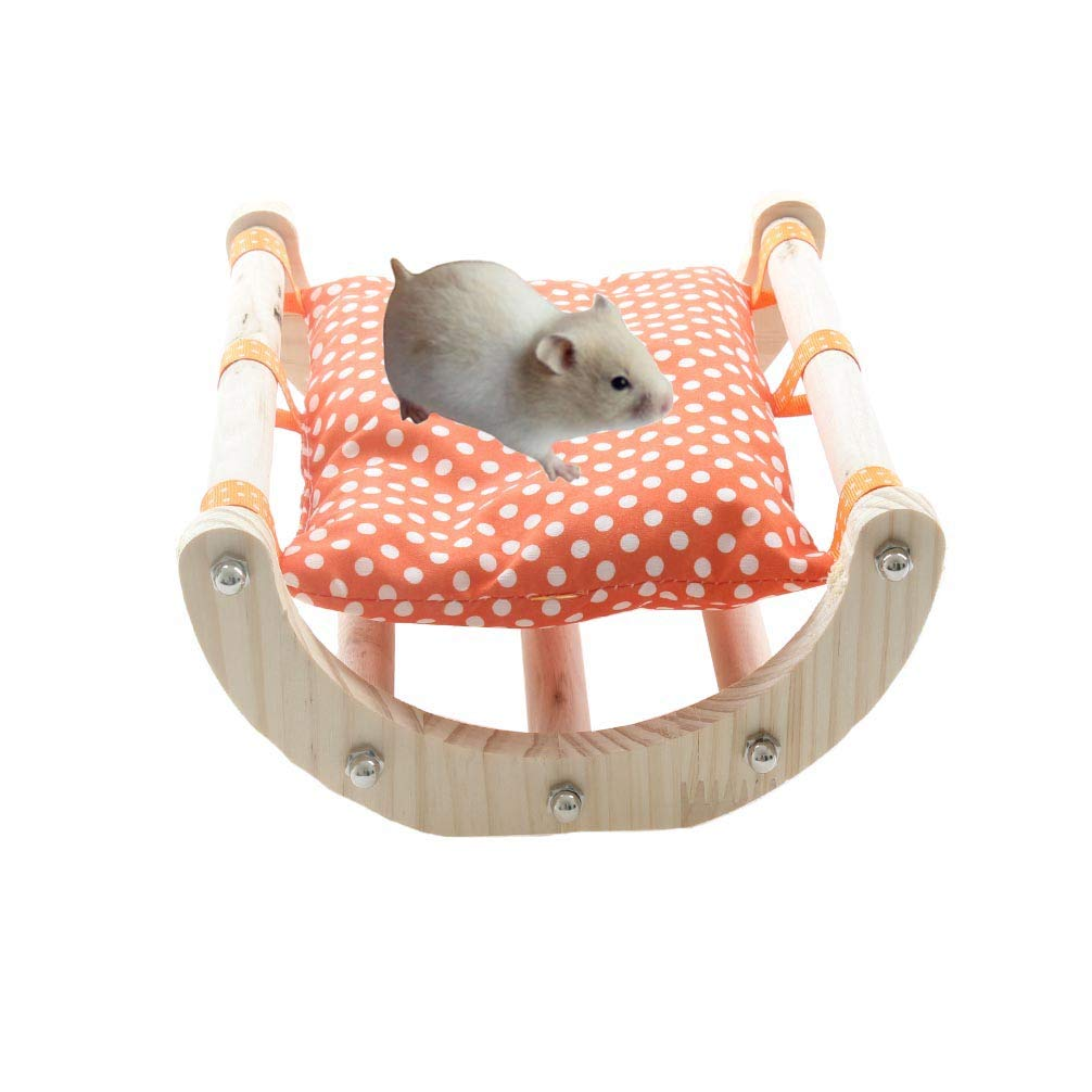 Emours Boredom Breaker Small Animal Activity Toy Play Bridge Wooden Hammock Shaker Bed