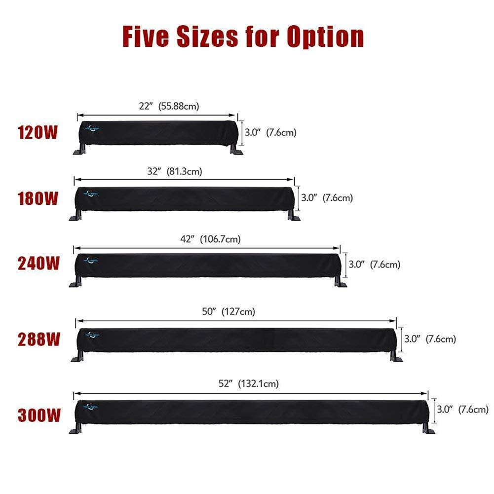 Heavy-Duty Water-Resistant Scratch-Proof Protective Sleeve for Off-Road Lights JJZ1418 32 led light bar cover Universal Rain Proof Straight /& Curved LED Light Bar Cover QEES Led Light Bar Cover