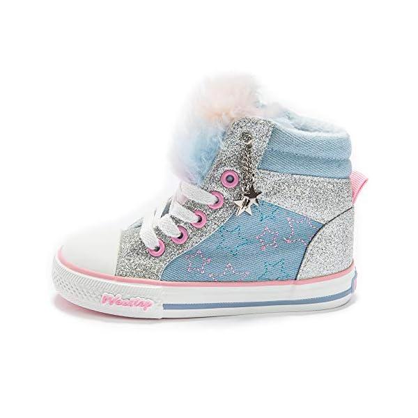 Weestep Toddler/Little Kid Girls Glitter Bow Sneakers