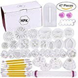 hpk Fondant Cutters Tools Molds Cake Decorating Supplies Tool Set with Rolling Pin Smoother Scrapers Embosser Moulds (Standard Size, Mix) -47 Pieces