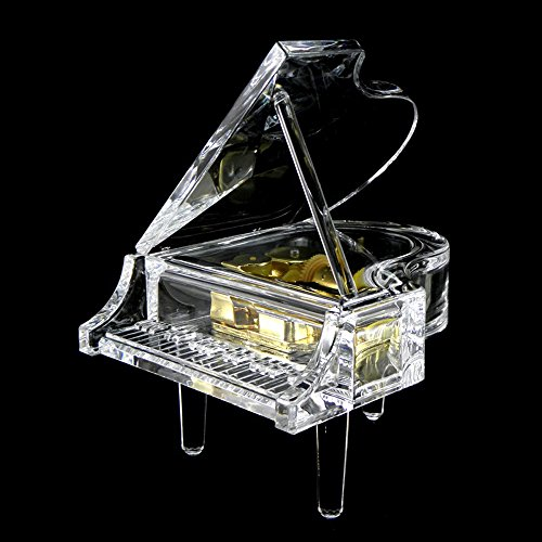 Gorgeousstyles Acrylic Piano Shaped Music Box for Home Decor (Piano Musical Jewelry Box)