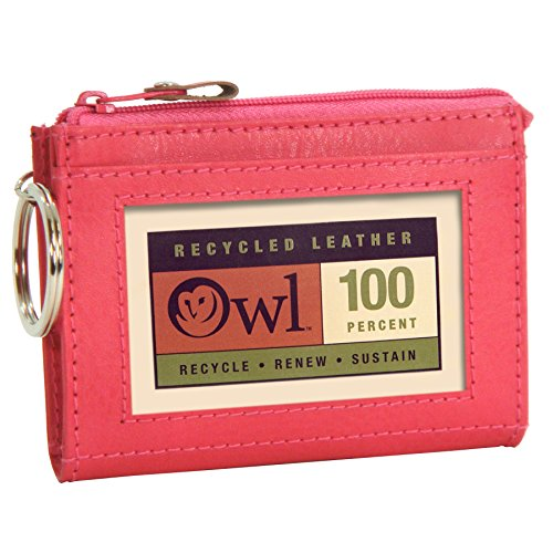 OWL Zip-top PINK Small Zip ID Card Holder Keychain Wallet with Zipper Mini Coin Purse -