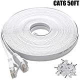 Cat6 Ethernet Cable 50 FT White, BUSOHE Cat-6 Flat RJ45 Computer Internet LAN Network Ethernet Patch Cable Cord - 50 Feet