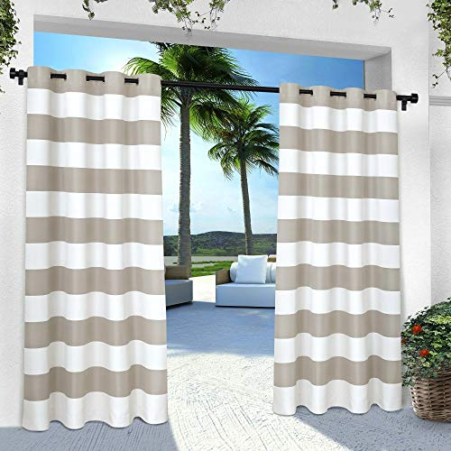 Exclusive Home Curtains Indoor/Outdoor Stripe Cabana Window Curtain Panel Pair with Grommet Top, 54x84, Cloud Grey, 2 Piece (Cabana Outdoor)
