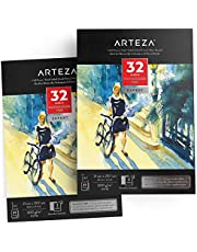 ARTEZA A4 Watercolor Pad, 2 Pack, 64 Sheets, 140lb/300gsm, Glue Bound, 32 Sheets Each, Cold Pressed, Acid Free Watercolor Paper Pads, Perfect for Wet, Dry & Mixed Media