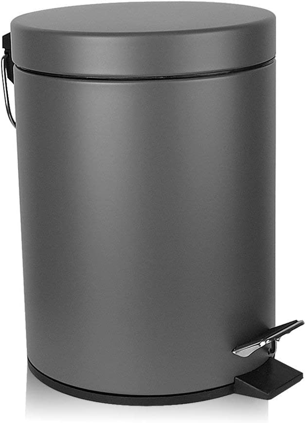 H+LUX Bathroom Trash Can, Round Mini Trash Can with Lid Soft Close and Removable Inner Wastebasket, Anti-Fingerprint Matt Finish, 0.8Gal/3L, Gray