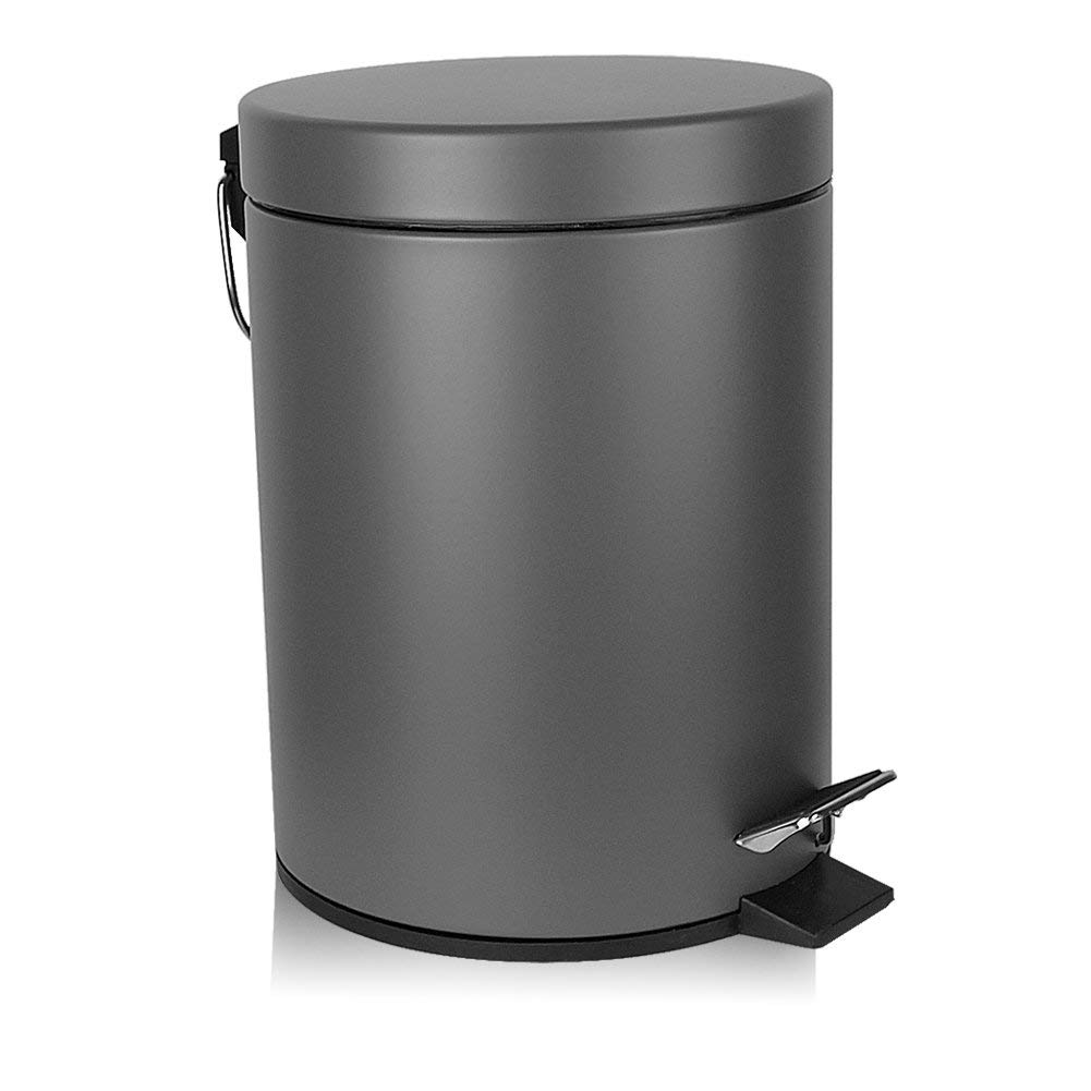 H+LUX Bathroom Trash Can, Round Mini Trash Can with Lid Soft Close and Removable Inner Wastebasket, Anti-Fingerprint Matt Finish, 0.8Gal/3L, Gray by H+LUX