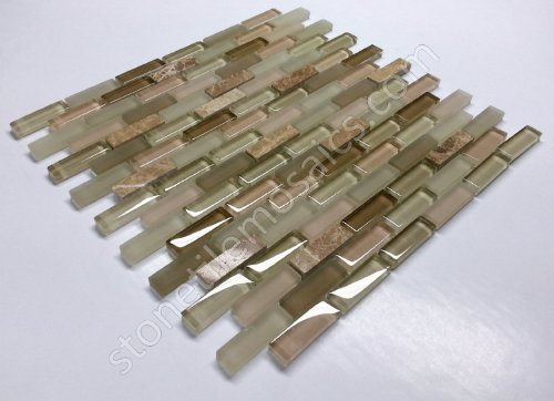 Vogue Premium Quality Brick Pattern Beige Glass Light Emperador Marble Mixed Mosaic Subway Tile on Mesh Designed in Italy (12x12)