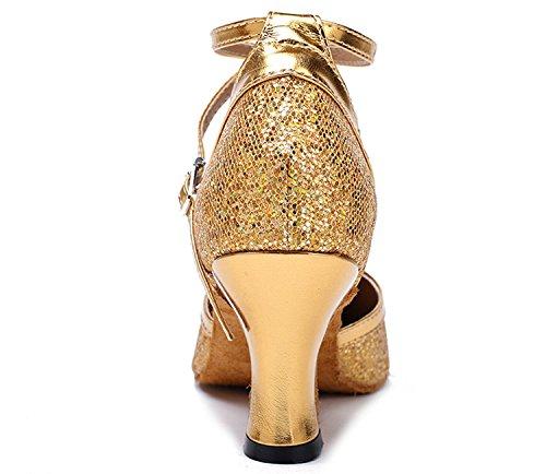 Honingwinkel Dames Criss Cross Dansschoenen Glitter Party Schoenen Mid-hiel Mary Jean Dance Gold