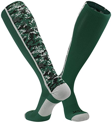TCK Sports Digital Camo Over The Calf Socks (Dark Green, Large)