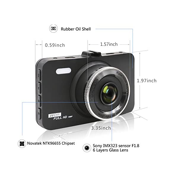 ULU SD10 Car Dash Cam 30 FHD 1080P Front Rear 290 Super Wide Angle Car DVR Dashboard Camera Recorder With Sony Video SensorNTK96655 Chipset32GB CardNight VisionG SensorLoop Recording