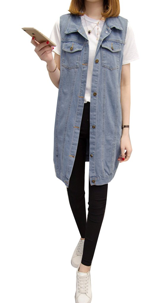 Blansdi Women Casual Lapel Collar Button Down Sleeveless Denim Cardigan Vest Jacket Tops Lightblue 2XL