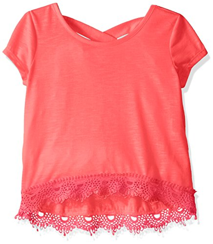 My Michelle Big Girls' Short Sleeve Knit Top with Crossover Back and Lace Hemline Detail, Apricot, Large (Michelle My Clothes)