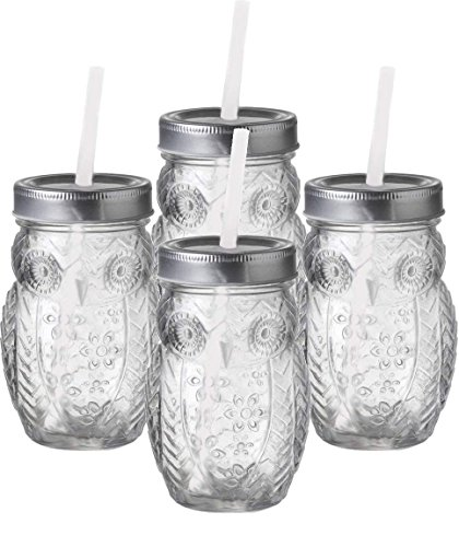 - Circleware 69052 Owl Mason Jars Drinking Glasses with Metal Lids and Hard Plastic Straws Set of 4, Glassware for Water Beer and Kitchen & Home Decor Dining Beverage Gifts, 15 oz, Clear