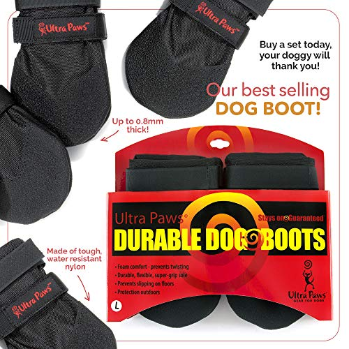 Ultra Paws Durable Dog Boots Black Medium