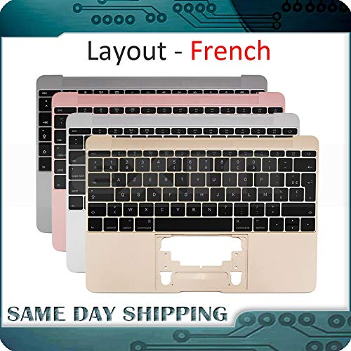- ShineBear for MacBook 12'' A1534 French AZERTY FR Topcase Palm Rest w/Keyboard Top Case 2015 2016 2017 Gold/Gray/Silver/Rose Gold - (Cable Length: 2016-17, Color: Rose Gold)