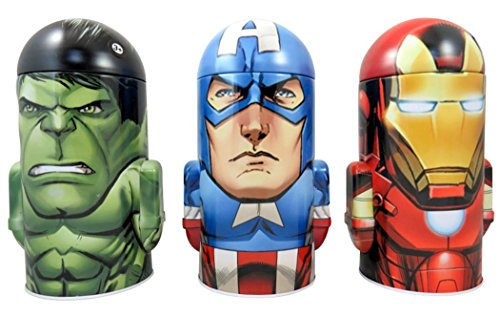 Tin Piggy Bank, Avengers Assemble Character Shape Dome, Tin Coins Bank with Arms, Pack of 3