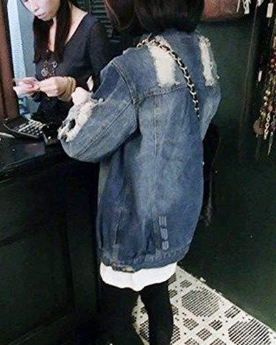 Eleganti Tempo Lunga Autunno Manica tasca Sciolto Giacca Moda Bild Als Strappato Ragazza Cappotto Con Donna Primaverile Monocromo Jeans Button Libero Multi Giacche Chic xqn7ESF