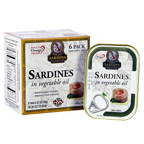 Adriatic Sardina Wild Caught Sardines in Vegetable Oil, 3.7 oz (Pack of 6) by Adriatic Sardina , INC.
