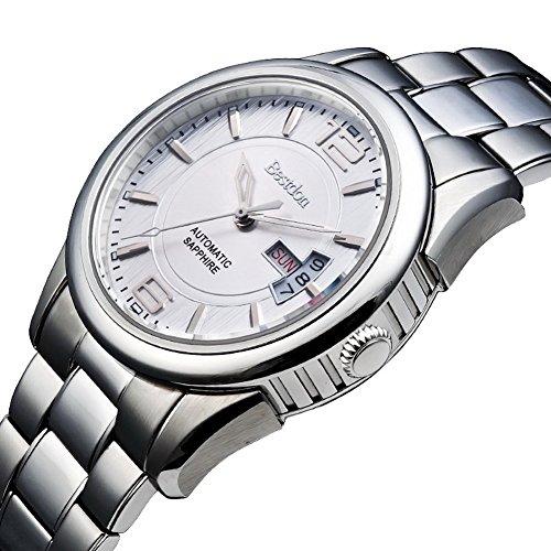 Bestdon Swiss Men's Orignal Automaic Mechanical Watch Stainless Steel Calendar Date-Day White