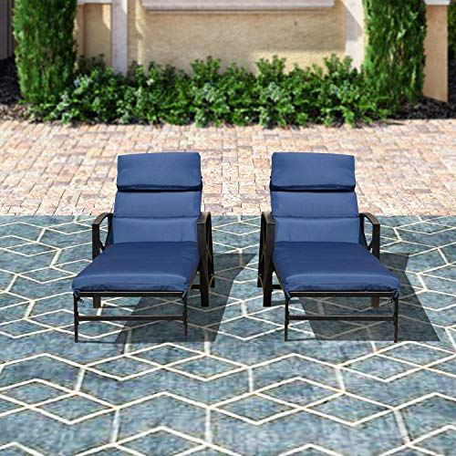 Top Space Patio Chaise Lounge Chair Outdoor Adjustable Back Cushioned Chairs with Blue Pillow All Weather Steel Frame Lounger(2Pcs)