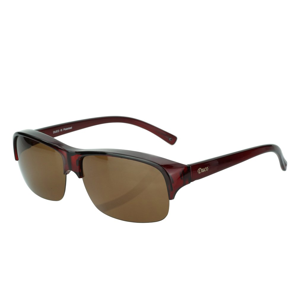 Duco Semi Rimless Sunglasses For Prescription Eyewear Polarized Sunglasses 8953T (Red Frame Brown Lens,Lens Height 36mm) by DUCO