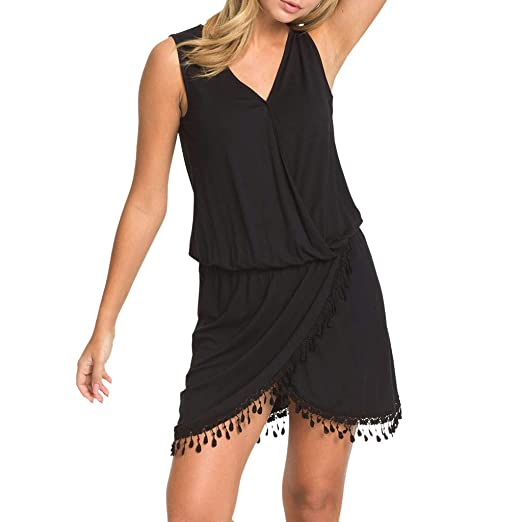 Amazon Com Womens Sleeveless Casual V Neck Solid Sheath Party