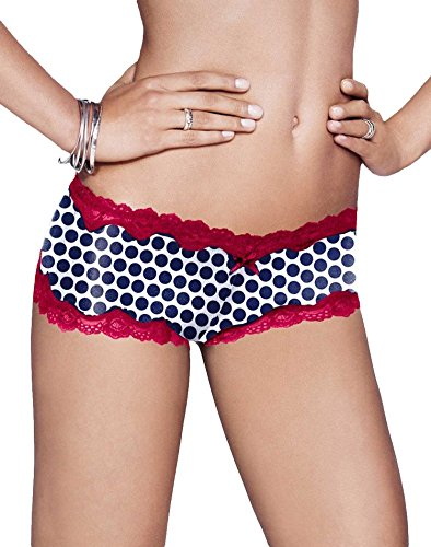 (Maidenform Women's Cheeky Lace Hipster, Navy Pop Dot, 5)