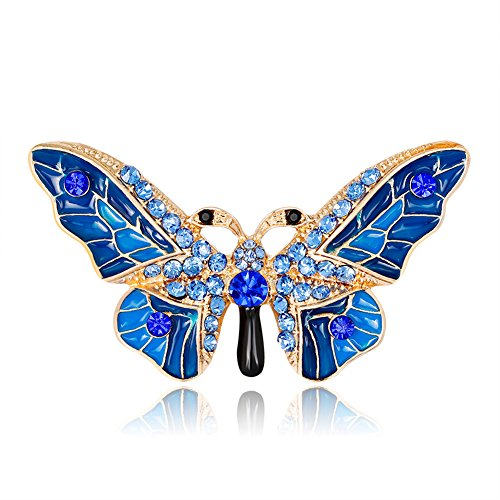 Dress Brooch Butterfly (Finance Plan The Latest Graceful Butterfly Brooch Pin Rhinestone Shirt Scarf Sweater Dress Women Jewelry Blue)