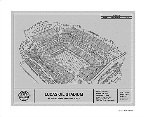 Indianapolis Colts Lucas Oil Stadium Blueprint Art Gift
