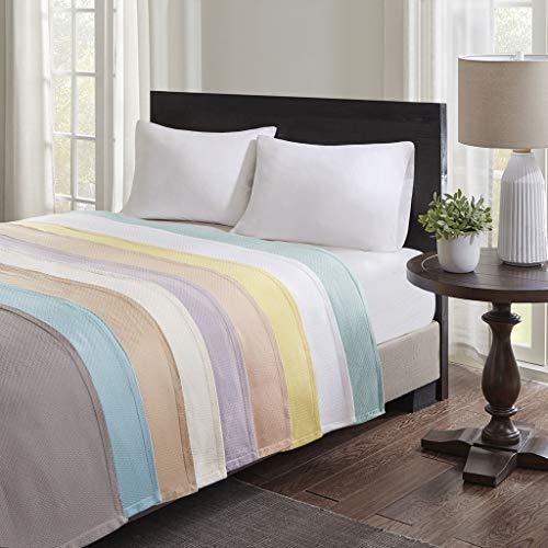 (Madison Park Liquid Cotton Luxury Blanket Blush 10890 King Size  Premium Soft Cozy 100% Ring Spun Cotton For Bed, Coach or Sofa)