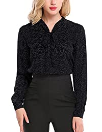 Meaneor Women Bow Tie Chiffon Cuffed Sleeve Blouse Polka Dot Button Down Shirt