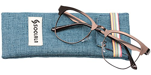 SOOLALA Mens Vintage Inspired Classic Semi Frame Horm Rimmed Reading Glasses, Coffee, - Glasses Reading Uk Prescription