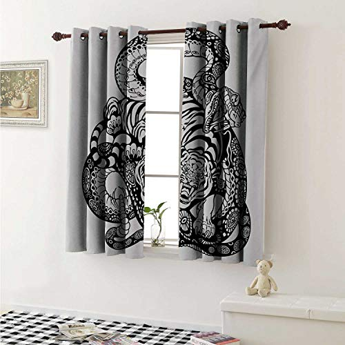 shenglv Tiger Customized Curtains Tattoo Style Scene of Two Animals Struggling Long Snake with Sublime Large Cat Curtains for Kitchen Windows W63 x L45 Inch Black and White