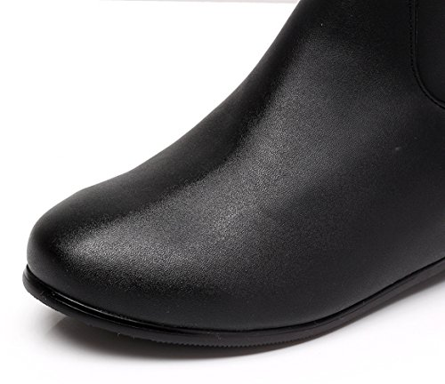 Classic Leather Handmade Icegrey PU Boots Embroidered Women's Long Black vHwqR6t