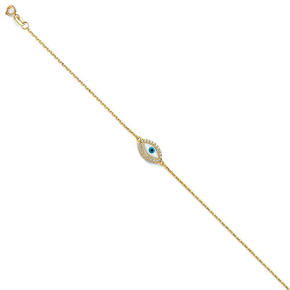 Ioka Jewelry - 14K Yellow Solid Gold Evil Eye Chain Bracelet - 7+1'' by Jewelry by Ioka
