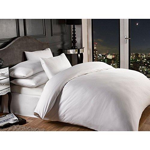 Vivente Home Grosvenor Satin Stripe Cotton Rich 1000 Thread Count Duvet Cover Set White