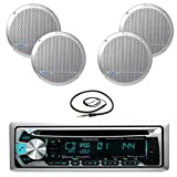 """New Kenwood Marine Boat ATV Car In Dash Bluetooth CD MP3 USB AUX iPod iPhone AM/FM Radio Stereo Player With 4 X Lanzar AQ5DCS 300 Watts 5.25-Inch Dual Cone Marine Speakers And Enrock Marine 45"""" Antenna - Complete Marine Audio Package"""