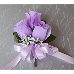 Silk Flower Arrangements Angel Isabella Pin Corsage - Lavender Ribbon Bow with Pin