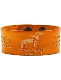 "<span class=""a-offscreen"">[Sponsored]</span>Twelve Constellations PU Leather Brown Unisex Button Adjustable Wrist Wide Bracelet"