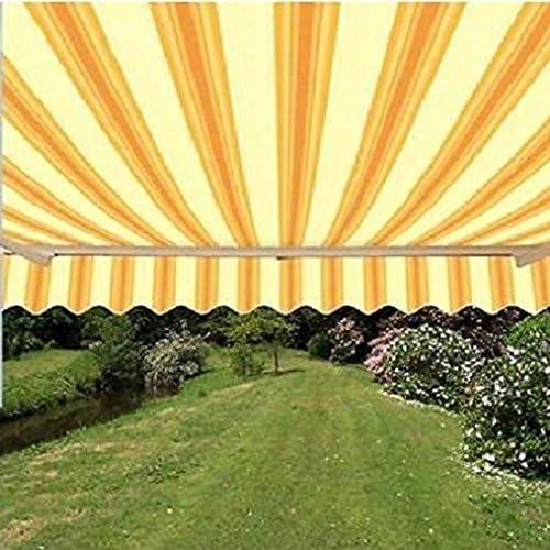 ALEKO FAB16X10MSTYEL315 Retractable Awning Fabric Replacement 16 x 10 Feet Multi-Stripe Yellow