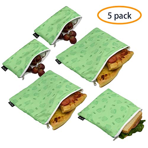 Reusable Sandwich Bags Snack Bags - Set of 5 Pack, Dual Layer Lunch Bags with Zipper, Dishwasher Safe, Eco Friendly Food Wraps, BPA-Free. - Pizza Bag Fabric Holds