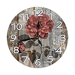Yanghl Coral Brown Rustic Flower Butterfly Print Round Wall Clock Decorative, 9.8 Inch Silent Non Ticking Home Office School Decorative Clock Art