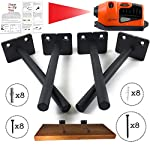 Solid Steel Floating Shelf Support Bracket with BONUS Laser Level - 4 Pack Includes Wall Plugs and Screws - Black Invisible Heavy Duty Brackets - Concealed Blind Support for DIY Shelves
